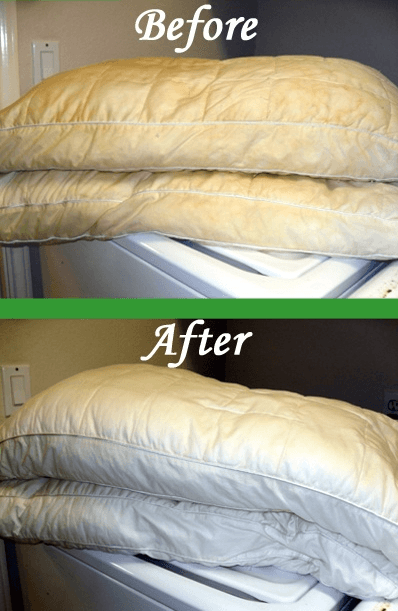 how to turn pillows back to white