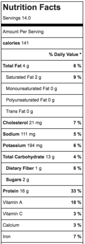 nutrition facts for vegetable soup