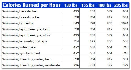 calories burned while swimming